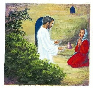 Jesus listening to a woman pray